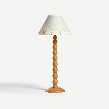 Bobbin Table Lamp in Natural Oak with Shade in Cobalt Blue