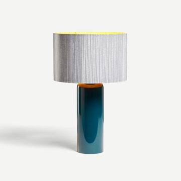 Hand Lacquered Barrel Table Lamp in Holbein Green