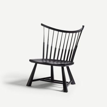 Spindle Back Lounge Chair in Pitch Black