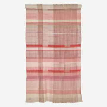 Handwoven Alpaca Throw Pinks and Vivid Red