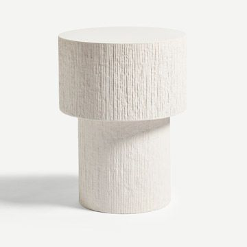 Pilotis Side Table (Carved) by Malgorzata Bany
