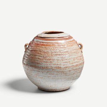 Round Shino Jar with Pulled Handles