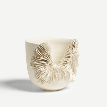White Tall Collapsed Bowl III