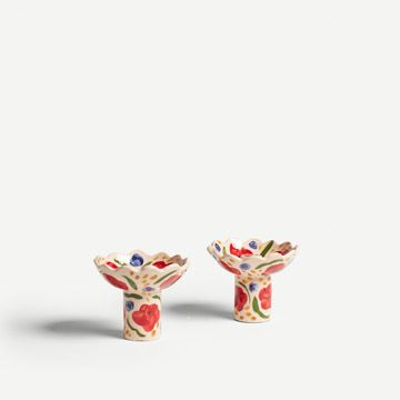 Blush Pink and Red Flora Candlestick Pair
