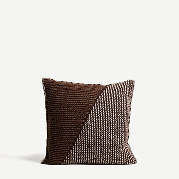 Square Bruthach Wool Cushion (Brown & White)